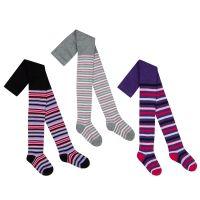 46B383, Girls cotton rich striped design tights £1.40.  pk18...