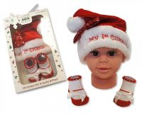 GP0843, Baby Girls Hat and Socks Gift Set - My First Christmas £3.50.  PK6..