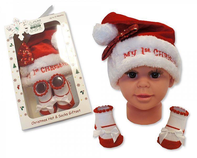 GP0843, Baby Girls Hat and Socks Gift Set - My First Christmas £3.50.  PK6.