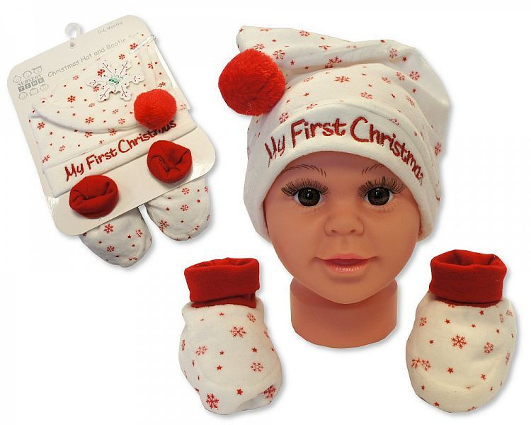 GP0839, Baby Hat and Booties Gift Set - My First Christmas - Cream £3.95.