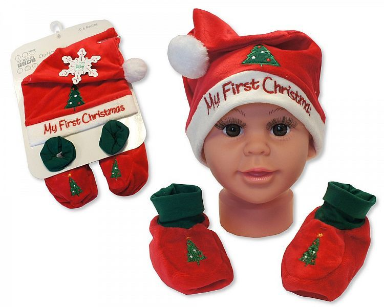 GP0838, Baby Hat and Booties Gift Set - My First Christmas - Red £3.95.  pk