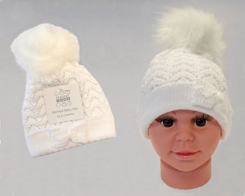 BW0335W, Baby Girls Knitted Pom-Pom Hat £3.50.  PK6..