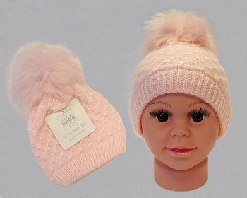 BW0334P, Baby Girls Knitted Pom-Pom Hat £2.95.  PK6..
