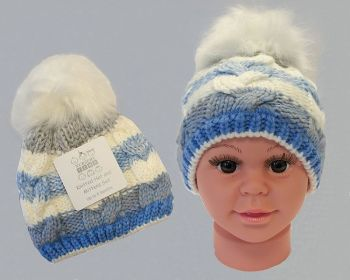 BW0333S, Baby Boys Knitted Pom-Pom Hat with Lining £3.45.  PK6...