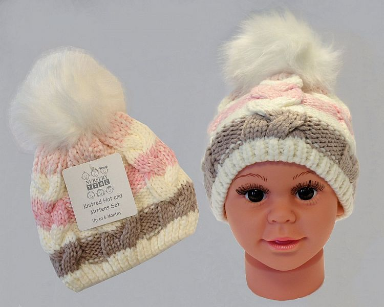 BW0333P, Baby Girls Knitted Pom-Pom Hat with Lining £3.45.  PK6..