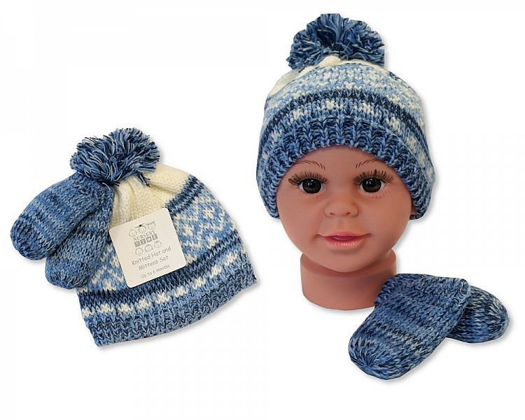 BW0332S, Baby Boys Knitted Pom-Pom Hat and Mitten Set with Lining £3.60.  P
