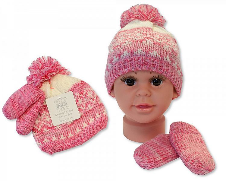 BW0332P, Baby Girls Knitted Pom-Pom Hat and Mitten Set with Lining £3.60.