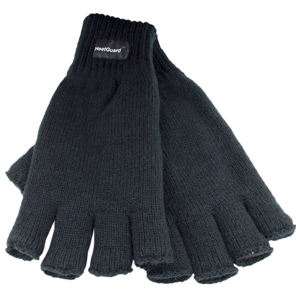 GL131BK, Mens thinsulate fingerless black gloves £1.75.   pk12..