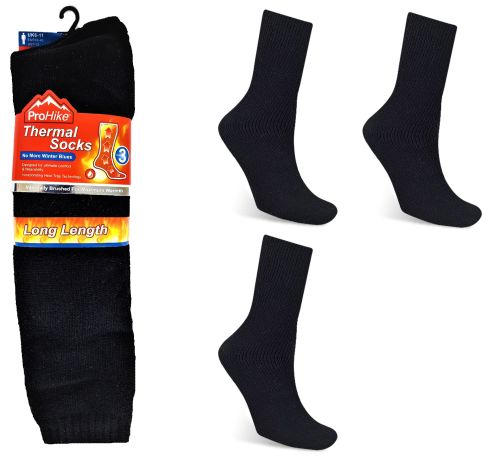 Code:2092, Mens 3 in a pack long hose black thermal socks £2.15.  1 dozen...