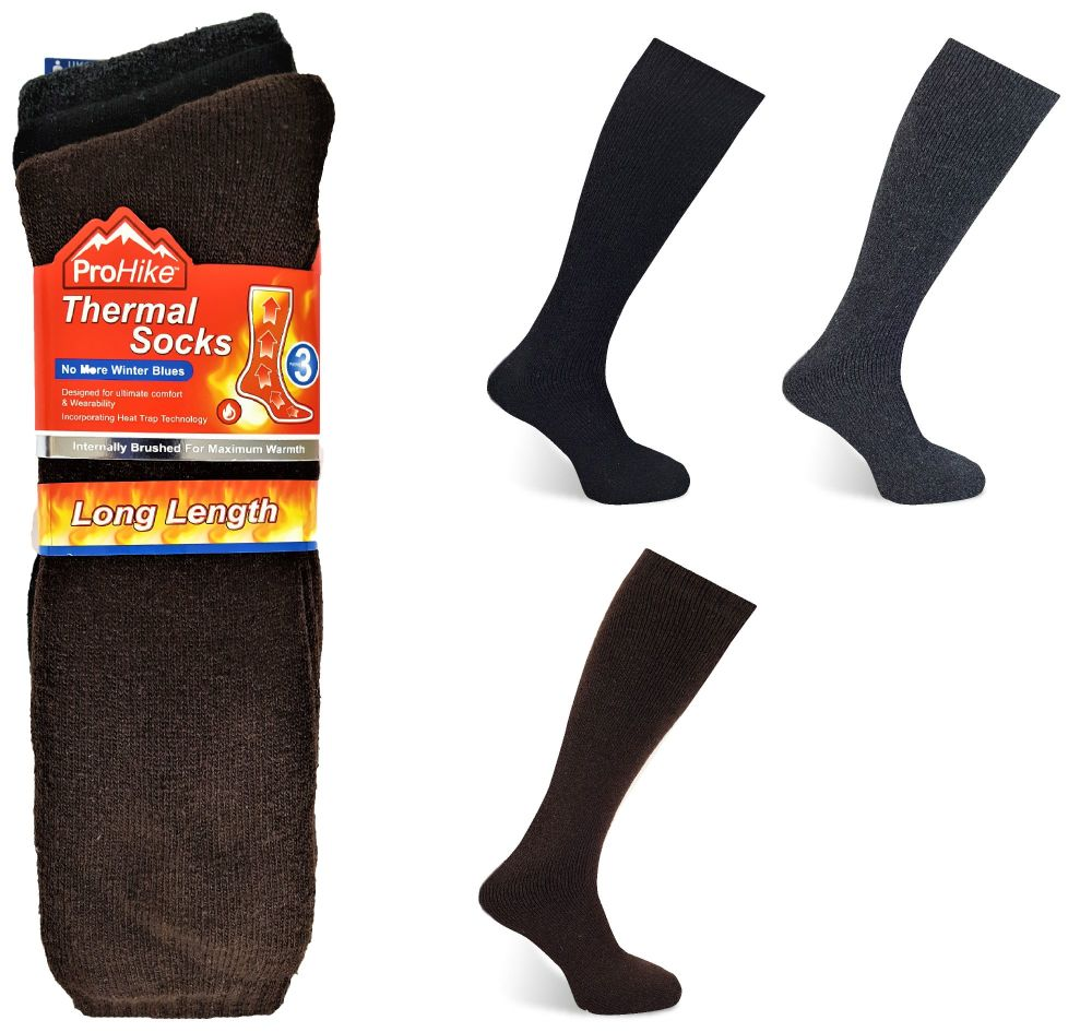 Code:2093, Mens 3 in a pack long hose thermal socks in assorted colours £2.