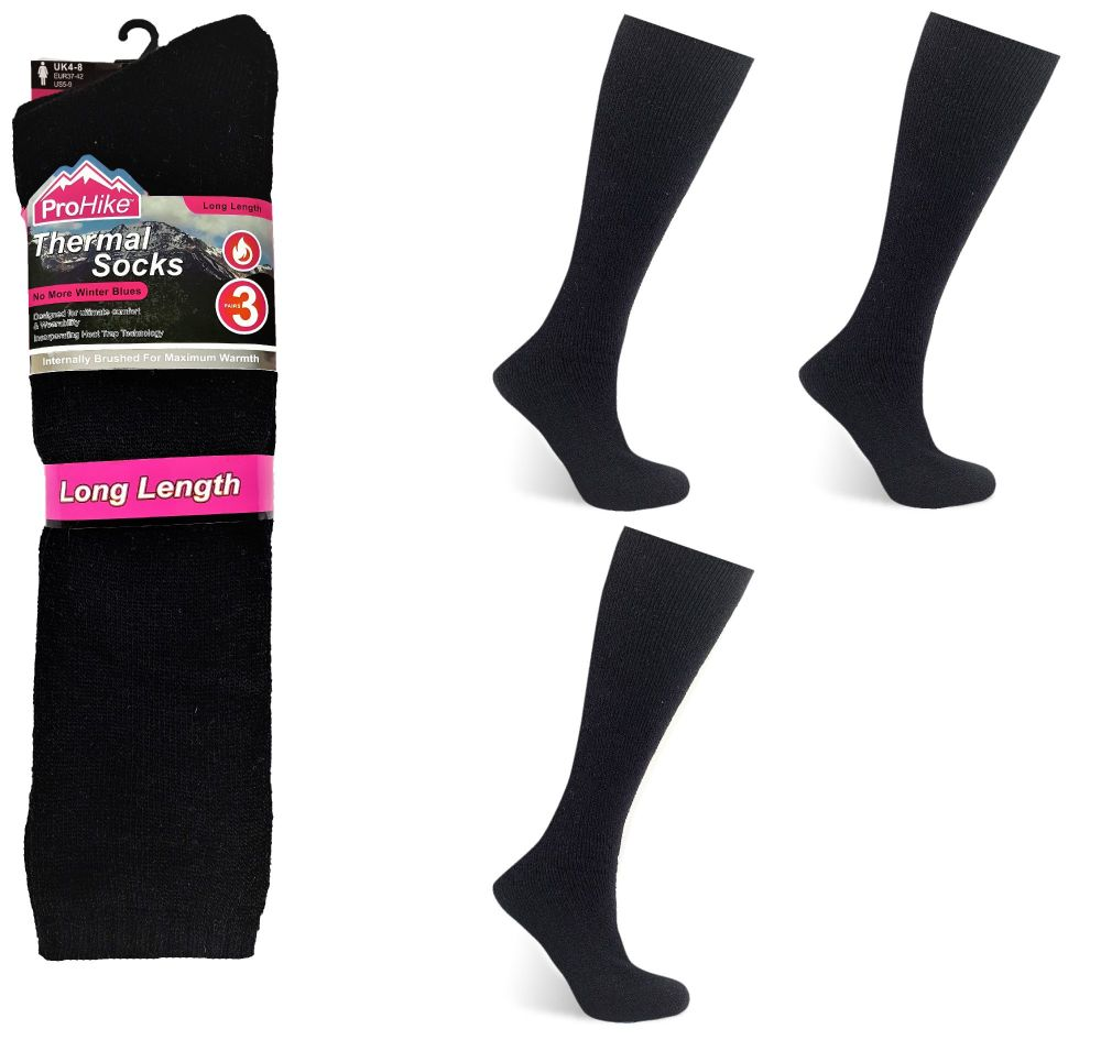 Code:2094, Ladies 3 in a pack long hose brushed black thermal socks £2.25.