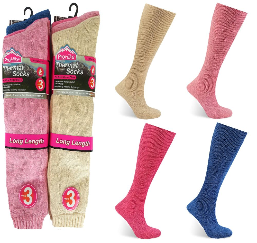 Code:2095, Ladies 3 in a pack long hose brushed thermal socks in assorted c
