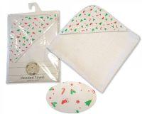 BW061Z, Baby Hooded Towel - Xmas £3.85.  PK3..