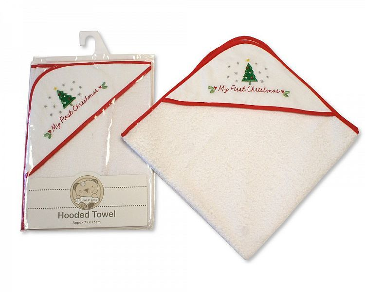 BW060Z, Baby Hooded Towel - My First Christmas £3.85.  PK3..