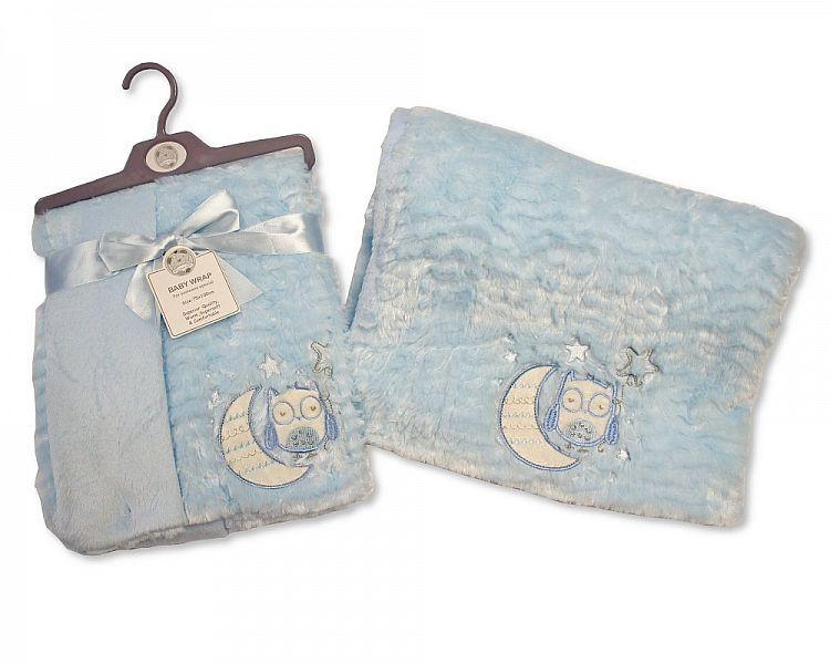 BW982S, Baby Soft Wrap - Owl - Sky £4.95.  PK2..