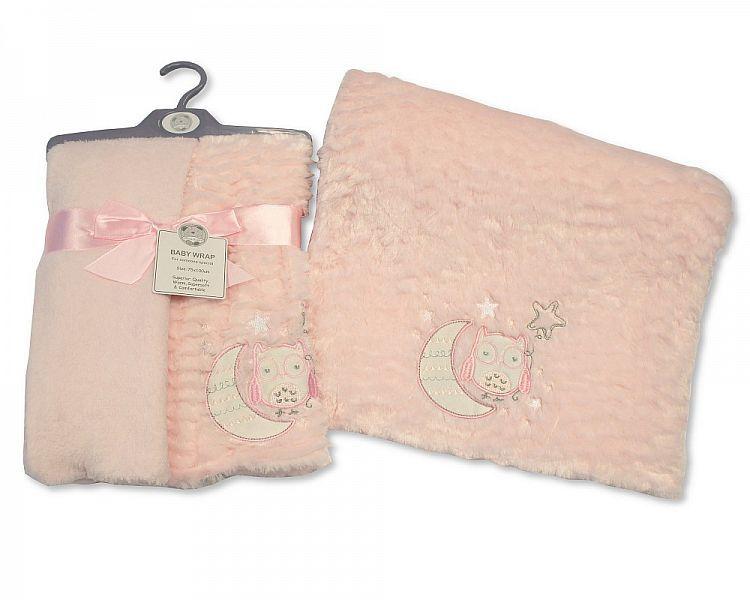 BW982P, Baby Soft Wrap - Owl - Pink £4.95.  PK2..