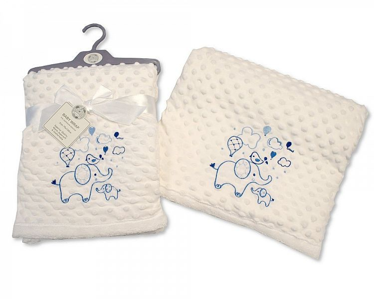 BW981S, Baby Soft Velour Dotted Wrap - Sky £4.95.  PK2..