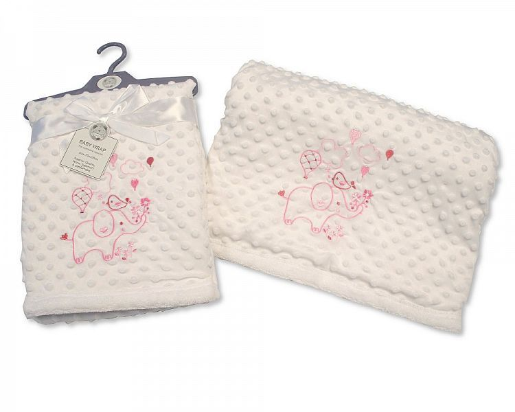 BW981P, Baby Soft Velour Dotted Wrap - Pink £4.95.  PK2..