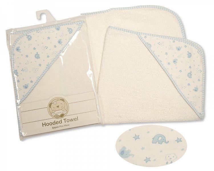 BW071Z, Baby Hooded Towel - Elephant - Sky £3.85.  PK3..