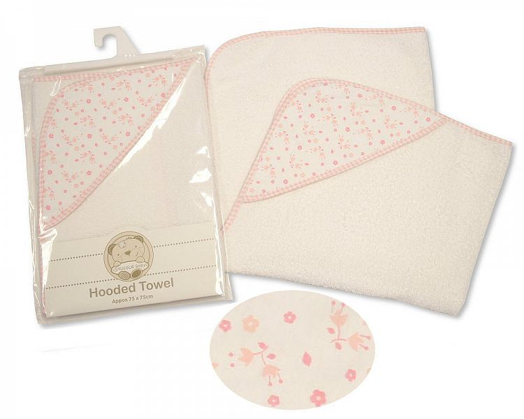 BW069Z, Baby Hooded Towel - Flowers £3.85.  PK3..