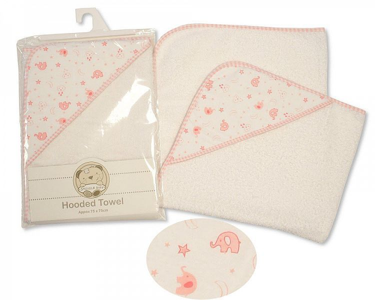 BW068Z, Baby Hooded Towel - Elephant - Pink £3.85.  PK3..