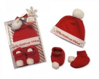GP0815, Baby Hat and Booties Cotton Gift Set - Little Christmas Wishes £3.50.  PK6..