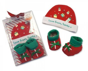 GP0814, Baby Hat and Booties Cotton Gift Set - Love from Santa £3.50.  PK6..