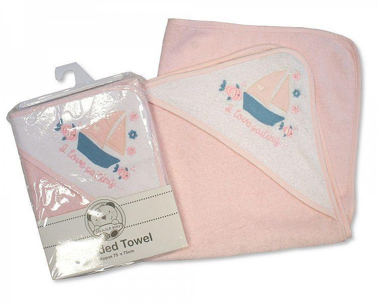 BW109AYB, Baby Girls Hooded Towel - I Love Sailing £3.50.  PK3..