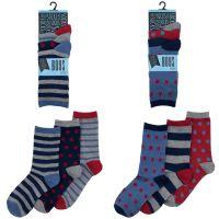 SK319, Boys 3 in a pack design socks £0.85.  12pks...