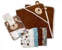 *GP0734, Baby Boys Hooded Towel and Wash Cloth Set (OUT OF STOCK) £3.60.  PK6..
