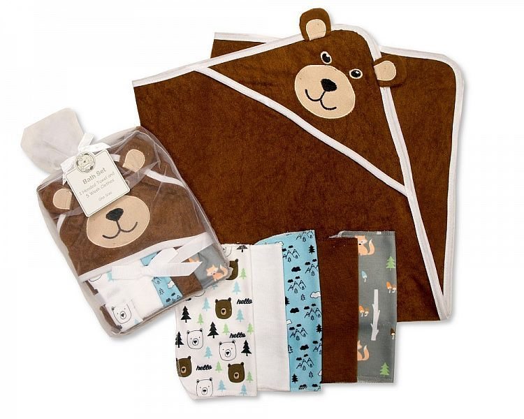 *GP0734, Baby Boys Hooded Towel and Wash Cloth Set - Teddy £3.60.  PK6..