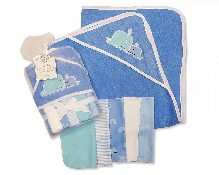 *GP0733, Baby Boys Hooded Towel and Wash Cloth Set - Whale £3.60.  PK6..