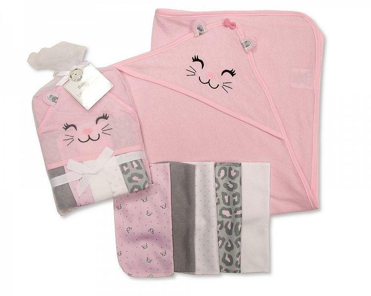 *GP0732, Baby Girls Hooded Towel and Wash Cloth Set - Kitten £3.60.  PK6..