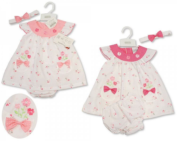 *BIS2183, Baby Dress - Flowers and Bows £4.65.  PK12..