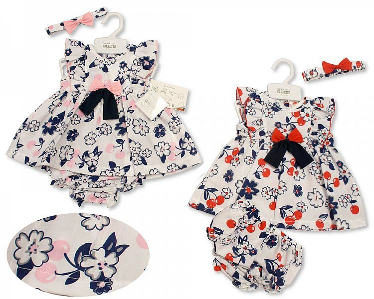 *BIS2176, Baby Dress 0-9 Months - Cherries and Flowers £4.45.  PK12..
