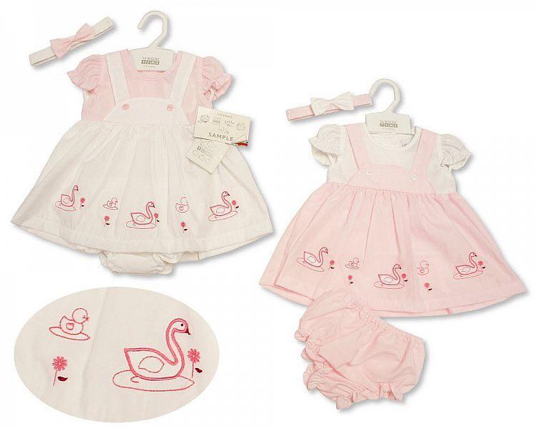 *BIS2171, Baby Dress 0-9 Months - Swan £4.45.  PK12..