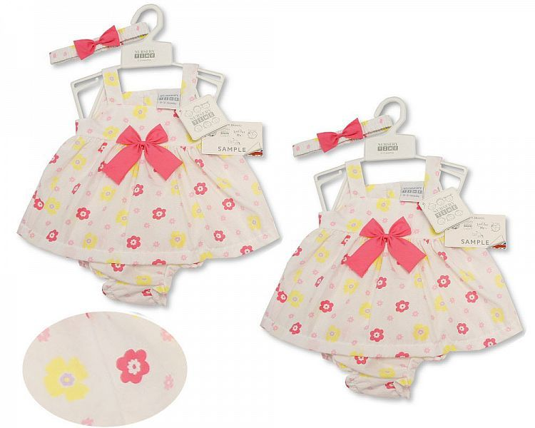 BIS2162, Baby Dress NB-6 Months - Bows £4.35.  PK12..