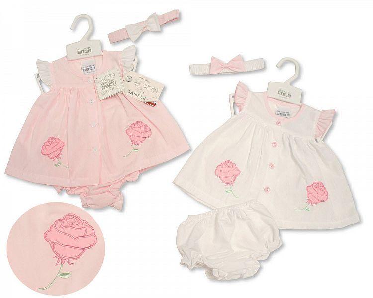 BIS2159, Baby Dress NB-6 Months - Rose £4.35.  pk12..