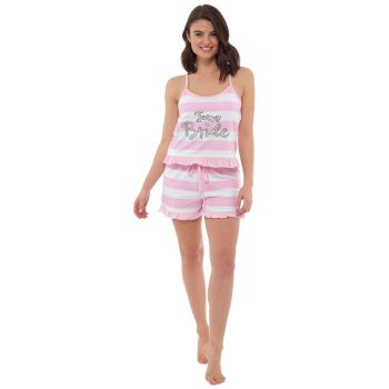 LN856, Ladies Team Bride Ruffle Trim Shortie Pyjama £5.60.  pk6...