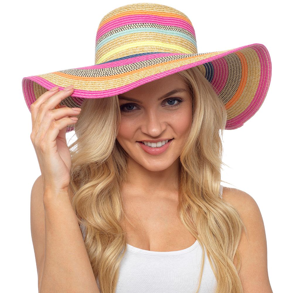 GL736, Ladies Bright Coloured Striped Summer Hat £3.30.  pk24..