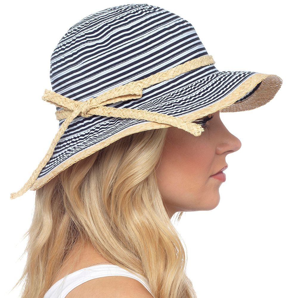 GL727, Ladies summer striped hat with straw bow detail £2.75.  pk48...