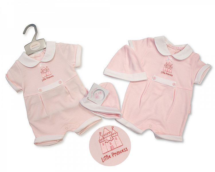 BIS2224, Baby Girls Romper with Hat - Princess £4.95.  PK6...