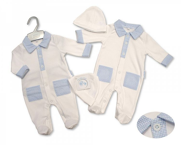 BIS2218, Baby Boys Gingham All in One with Pockets and Hat £6.15.  PK6..