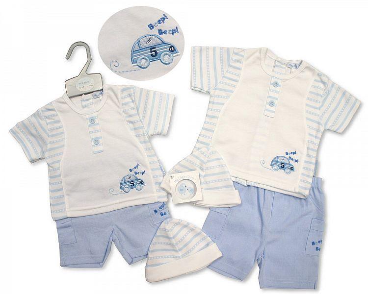 BIS2217, Baby Boys Shorts Set with Hat - Beep Beep £5.95.  PK6..