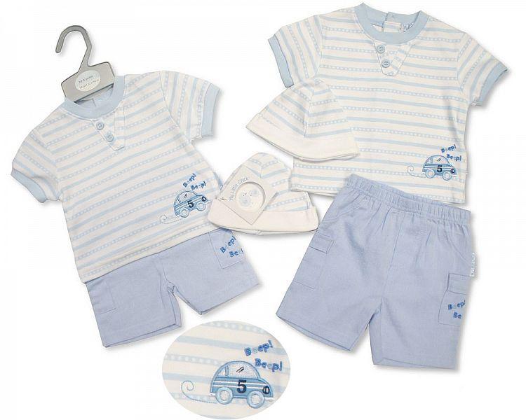BIS2216, Baby Boys Shorts Set with Hat - Beep Beep £5.95.  PK6..
