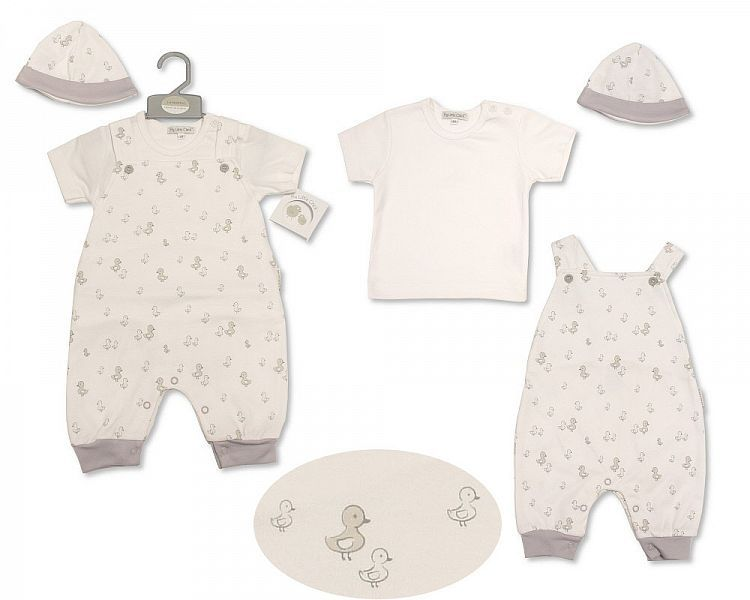 BIS2208, Baby Dungaree Set with Hat - Little Ducklings £6.75.  PK6..