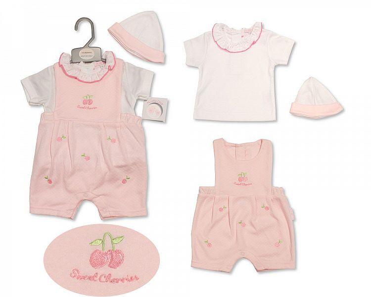 BIS2206, Baby Girls Box Dungaree Set with Hat - Sweet Cherries £7.30.  PK6.