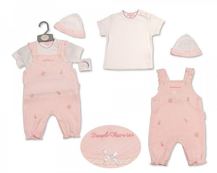 BIS2205, Baby Girls Dungaree Set with Hat - Sweet Cherries £7.60.  PK6..