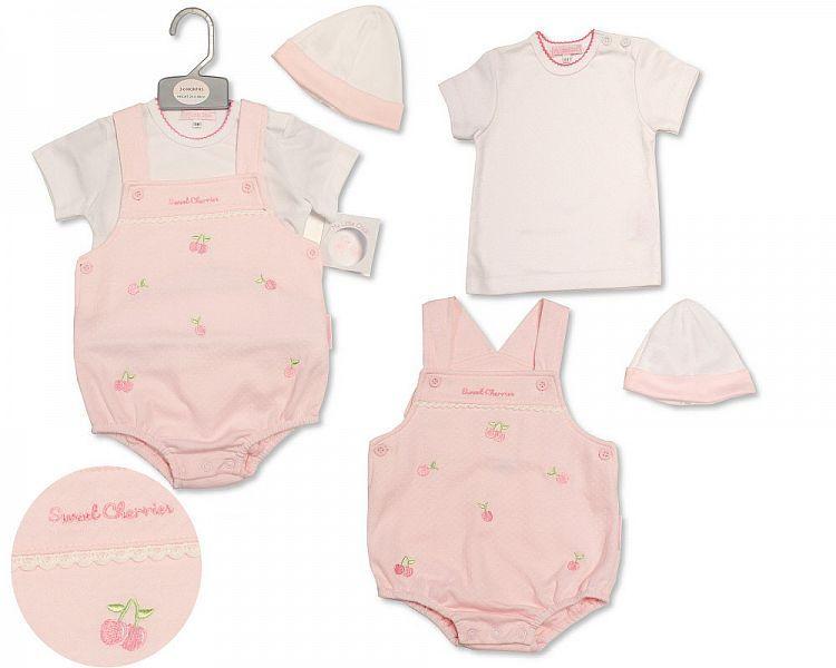 BIS2204, Baby Girls Short Dungaree Set with Hat - Sweet Cherries £7.30.  PK