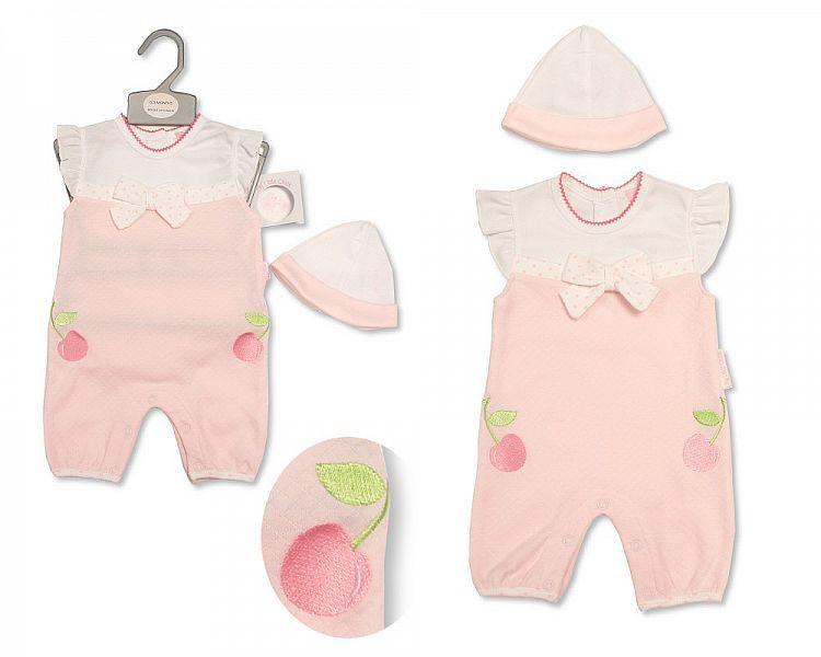 BIS2202, Baby Girls Romper with Hat - Sweet Cherries £5.25.  PK6..